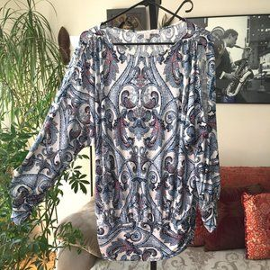 BOSTON PROPER Blue Paisley Cold Shoulder Top